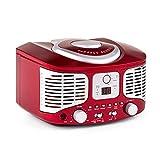 Auna RCD320 - Poste lecteur CD rétro avec tuner FM et entrée AUX - rouge
