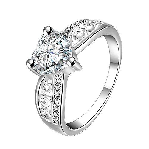 Rockyu ブランド ファッション アクセサリー 通販 メンズ レディース リング エンゲージリング 結婚指輪 婚約 人気指輪, クラシック カップル, ジルコニア ダイヤ, ステンレス, カラー:ゴールド(金) シルバー(銀) [ギフトバッグを提供] (白, 15)