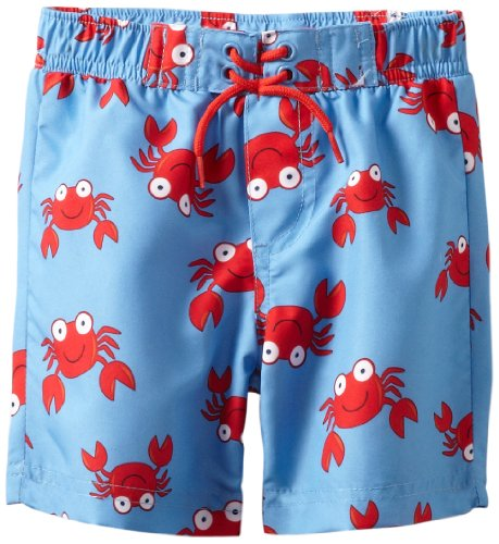 Little Me Baby-boys Infant Crab Swimtrunk, Blue Print, 18 Months