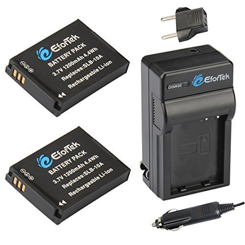 EforTek SLB-10A Replacement Battery (2-Pack) and Charger kit for Samsung SLB-10A, JVC BN-VH105 and Samsung ES50, ES55, ES60, EX2F, HMX-U10, HMX-U20, HZ10W, HZ15W, IT100, L100, L110, L200, L210, L310W, M100, M110, M310W, NV9, P800, P1000, PL50, PL51, PL55, PL60, PL65, PL70, SL102, SL202, SL310, SL420, SL502, SL620, SL720, SL820, TL9, WB150F, WB250F, WB350F, WB500, WB550, WB750, WB800F, WB850F, WB1100F, WB2100, JVC GC-XA1,GC-XA2 ADIXXION Action Camera