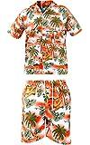 True Face Men New Hawaiian Printed Holiday Beach Hula Fancy Dress Shirt & Shorts