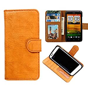DooDa PU Leather Wallet Flip Case Cover With Card & ID Slots & Magnetic Closure For Micromax Canvas Power A96 (Beige)
