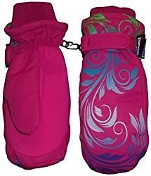 N'Ice Caps Girls Multi Shaded Scroll Print Thinsulate And Waterproof Mitten (5-7yrs, fuchsia/neon green/neon blue/neon lavender/neon purple)