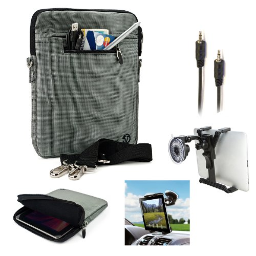 Professional Executive Deluxe Business Office Shoulder Sleeve Cover With Extra Pocket For Accessories For Toshiba Excite 10 & Toshiba Excite 10 Le + Includes A 3.5Mm Stereo Audio Cable (6 Feet) + Includes Size Adjustable Windshield Mount Complete 360 Degr