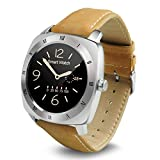 Wayona Bluetooth Smart Watch Heart Rate monitor Round Dial Wristwatch For Android and IOS Smart Wearable - Brown