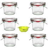 Viva Haushaltswaren - 6 Mini Weckgläser Rundrandgläser in Sturzform 80 ml inklusive Klammern, Ringen und einem gelben Einfülltrichter