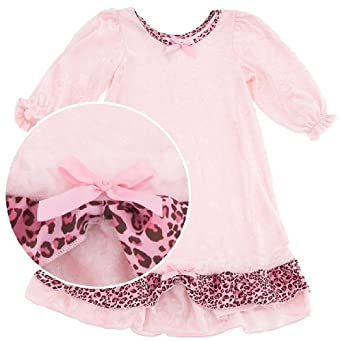 Laura Dare Pink Panne Nightgown for Infants, Toddlers and Girls 24 Months