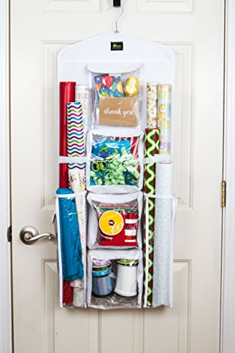 Dual sided vertical gift wrap organizer wrapping paper for Vertical gift wrap storage
