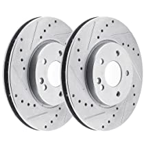 R1 Concepts CEDS11191 Eline Series Cross-Drilled Slotted Rotors And Ceramic Pads Kit Front and Rear