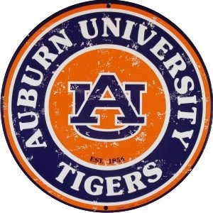 University of Auburn Tigers (retro) Collegiate Embossed Metal Circular Sign CS60097 at Amazon.com