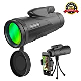 High Power Monocular Telescope - TEKITSFUN 12X50 Waterproof Monocular Scope for Adults, HD Wide Angle BAK4 Prism with Tripod Smartphone Hold for Bird Watching, Hunting, Camping, Hiking, Outdoors