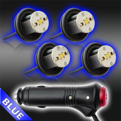 Blue 4Pc 4Watt High Power Led Emergency Strobe Flash Light Kit 20 Flash Modes With Memory Function -Universal 12V