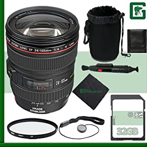 Canon 24-105mm Lens + 32GB Green's Camera Package 3