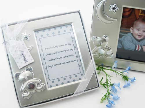 Teddy Bear Dreams Brushed Photo Frame in Gift Box - Baby Keepsake Party Favor