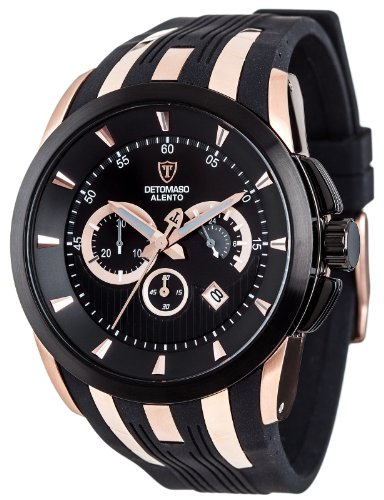Detomaso Men's Quartz Watch ALENTO Black/Rosegold DT2036-B with Rubber Strap