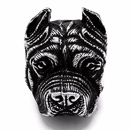 Mens Biker Ring Pitbull Bulldog Silver Black Tone Stainless Steel Band Ring (Size: 8) (Pit Bulldog compare prices)