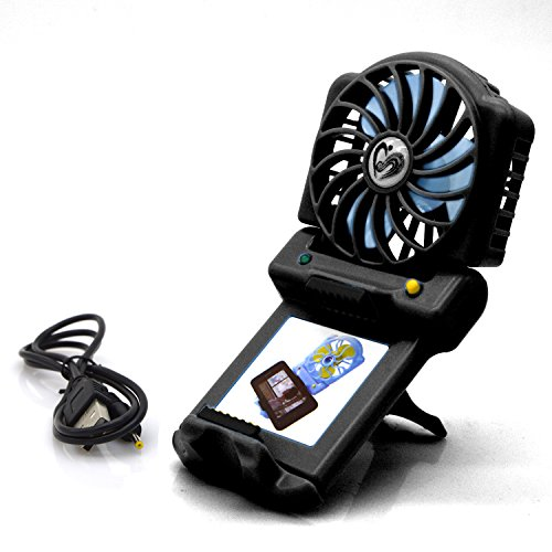 USB Fan/Mini Micro Fan/Handheld Fan/Smartphone Fan, eBerry®Colorful Portable Lightweight Large Air Flow Fan with Mobile Phone Stand/Holder-Personal Outdoor Cooling Travel Fan for PC/Laptop (Black)