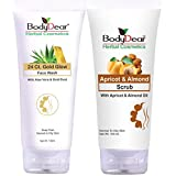 BodyDear Combo - BodyDear 24 Ct. Gold Glow Face Wash 100 Ml + BodyDear Apricot & Almond Scrub 100 Gm