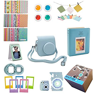 9 Piece Gift set Box Fujifilm Instax Mini 8 Accessories Bundle Mini 8 Camera Accessories Kit Includes, Mini 8 Case/2 Albums, Selfie Lens, 4 Colored Filters, 10 Wall Hang Frames,60 Stickers & More