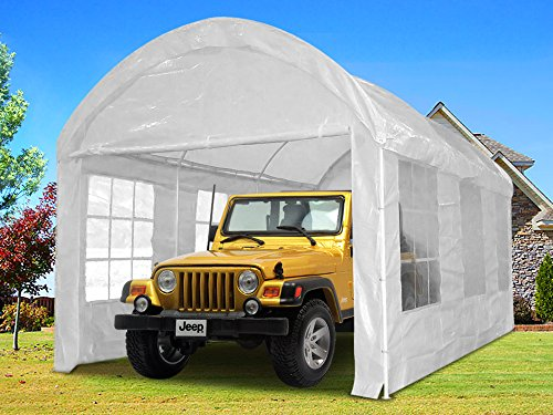 Quictent 20x10 Heavy Duty Portable Carport Canopy Garage Car Shelter Party Tent White (Garage Carport compare prices)