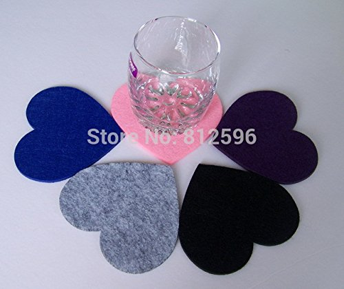 12pcs 2015 Wedding Favors and Gifts Fashion Laser Cut Bar Home Love Polyester Felt Heart Glass Cup Mat Coaster