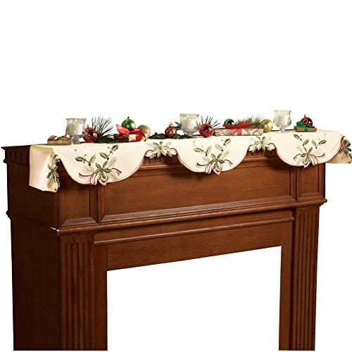 Christmas Holiday Holly Berry Table Linens, Mantel Scarf (Mantle Covers For Fireplaces compare prices)