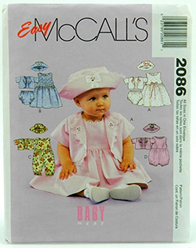 Mccall'S 2086 Infants' Dress, Rompers, Jacket, Hat And Panties - All Sizes - Small - Xlarge front-886933
