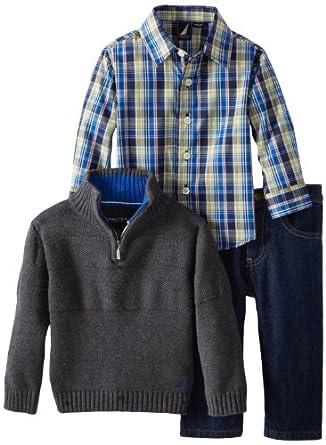 (新品)诺帝卡Nautica Baby-Boys Infant Sweater男宝帅气毛衣套装$27.34 heater