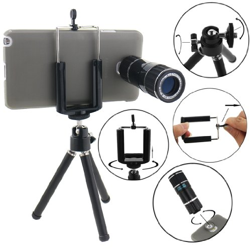Ancerson 12X Zoom Mobile Telephoto Lens Camera Lens For Samsung Galaxy Note 3 Iii N9000 N9002 N9005 + Protective Back Case Cover Shell Skin + Universal Mini Tripod Bracket Holder + Microfiber Cleaning Cloth