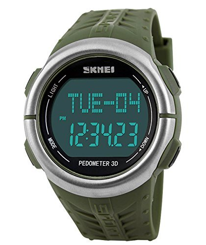 Gosasa Unisex Sports Watches Heart Rate MonitoR 50M Waterproof Digital Calorie Counter Watch (Army Green)