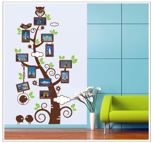 Yyone Picture Frames Tree With Leaves Owl Birds Removable Wall Decal Decor Sticker