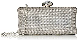 La Regale Crystal Metal Mesh Clutch, Silver Ombre, One Size