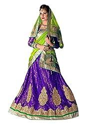 Dhanlaxmi International Purple & Green Color Semi Stitched Lehenga Choli.