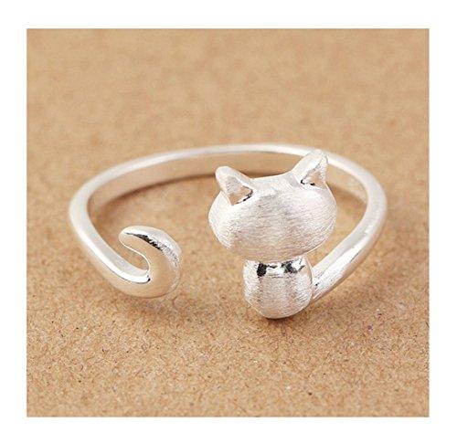 S&E Donna Sterling Silver simpatico gatto anelli di barretta anelli Nail apertura regolabile