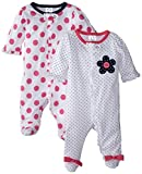 Gerber Baby-Girls Zip Front Sleep 'N Play, Flowers, 0-3 Months (Pack of 2)