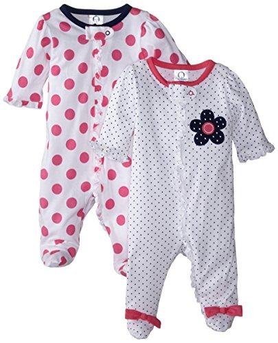 Gerber Baby-Girls Zip Front Sleep 'N Play, Flowers, 6-9 Months (Pack of 2)