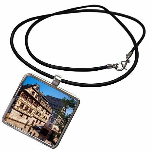 3dRose Danita Delimont - Brian Jannsen - Rivers - Buildings along the canal of River Lil in Strasbourg, Alsace, France. - Necklace With Rectangle Pendant (ncl_187340_1) (Lil Of France compare prices)
