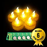 12-Battery-powered Yellow Flameless LED Frosted Flickering Tealight Candles With Timing Function(6 Hours on and 18 Hours Off)+ Extra Pack of 6 Batteries