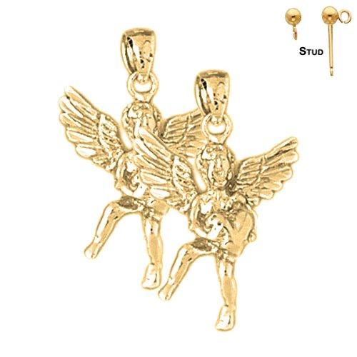 14K Yellow Gold 29mm Angel 3D Post Earrings (Approx. 6.4 grams)