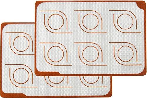 Homankit Silicone Baking Mat for Macarons, Set of 2 Quarter Sheet (7 7/8