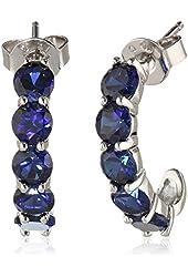 """Sterling Silver Round Gemstone """"J"""" Hoop Earrings"""