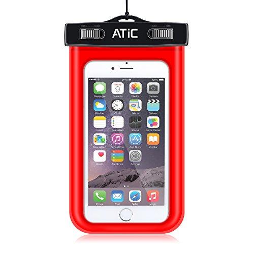 ATiC ストラップアームバンド式両用透明防水ケース - iPhone 6S / iPhone 6 / 6 Plus / 5 / 5S / 4 / 4S, Samsung Galaxy S6 / S6 Edge / s6 edge+ /S5 / S4 / S4 Active, Note 4,Note 5, iPod Touch 3 / 4 / 5, HTC ONE X / ONE S Z520E / ONE M9, Windows Phone 8 ( ATT, T-Mobile, Verizon ), Motorola DROID RAZR /MOTO G3/ LG G2 / G3 / Droid Turbo, LG G Flex 2, Nexus 4 / Nexus 6, Zenfone 2, Sony Z1 / Z2 / Z3(5.7インチ以下の携帯)に適用ストラップアームバンド式両用防水 ケース。防水保護等級 : IPx8。RED