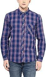 Y.U.V.I. Men's Cotton Regular Fit Casual Shirt (11113008-L, Blue & Red, Large)