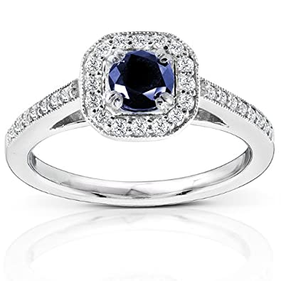 Round-cut Sapphire and Diamond Engagement Ring 7/8 Carat (ctw) in 14k White Gold