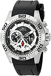Invicta Men's 'Aviator' Swiss Quartz Stainless Steel and Polyurethane Automatic Watch, Color:Black (Model: 21735)
