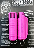 2 PACK POLICE MAGNUM PEPPER SPRAY .50oz PINK MOLDED KEYCHAIN