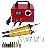 110V Multifunction Pyrography Machine Gourd Crafts Wood Burning Tool Kit Set with 20 Nib for Wood and Leather Pyrography (100W Dual Port) (Color: 100W Dual Port)