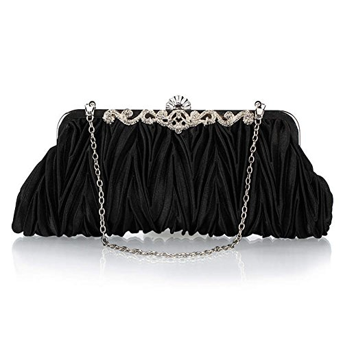 Meta-U Women Vintage Satin Envelope Cocktail Evening Bag Party Clutch Handbag