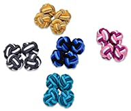 5 Pairs of Silk Knot Cufflinks in a Box