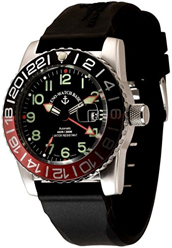 Zeno-Watch Herrenuhr - Airplane Diver Automatic GMT Numbers (Dual Time), black/green - 6349GMT-12-a1-7